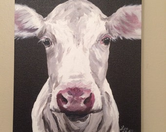 Canvas Cow Art Print 'Mabel'  Cow decor from original cow on canvas painting