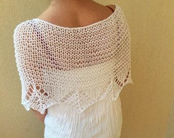 Poncho sweater, spring summer wrap, white knit poncho, white wrap, women knit top, loose shrug, white shawl