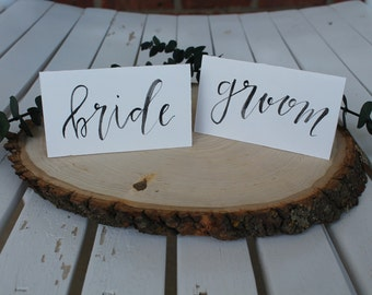 Classic Black and White Wedding Reception Place Cards