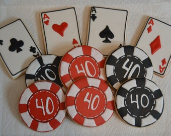 cards and poker chips cookies