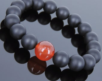 Men's Women Matte Black Onyx Red Agate Bracelet Healing Gemstone DiyNotion Handmade BR711