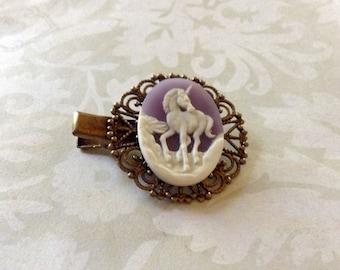A Soft Grape And White Unicorn Alligator Hair Clip