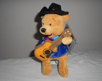 SALE! Disney Nashville Pooh/Dressed Country Western Singer Pooh Strums His Guitar./Dressed in Royal Blue and Red Satin with Western Hat.!!