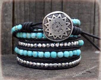 Handmade Black Leather And Turquoise Wrap Bracelet, Southwestern Beaded Wrap Bracelet.