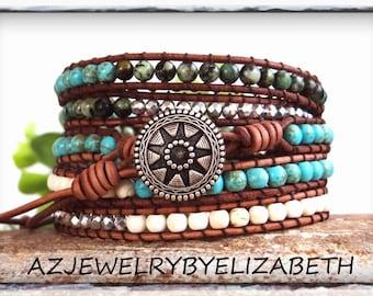 Mens Bracelet, Southwestern Wrap Bracelet, Turquoise Bracelet, Leather Wrap Bracelet, Beaded Bracelet.
