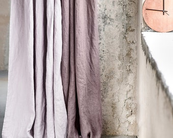 Caffe mocha/purple. Washed linen curtains/ linen drapes in caffe mocha/purple