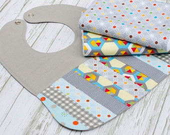 Bib and Burp Cloth Set, Baby Gift, Baby Shower, Newborn, Nursing, Feeding, Burpcloths,Bib, Bright