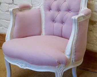 A Vintage French Louis XV Upholstered Bergere Armchair / Bedroom Chair