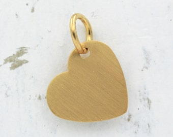 SALE!  50% Off - Heart Charm - Pendant - Brushed Gold