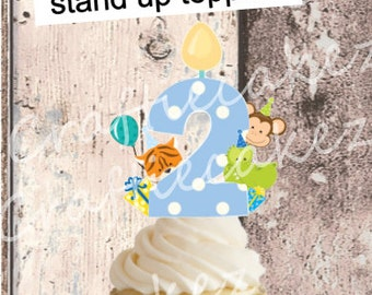 24 x Pre Cut Edible Boys Number 2 Stand Up Cupcake Toppers