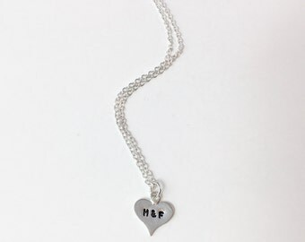 Handstamped Initial Charm Necklace, Sterling Silver Heart Charm Necklace, Handstamped Heart Necklace, Personalized Necklace, Anniversary
