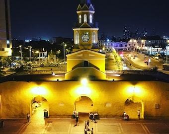 El Reloj Clock Tower at night Cartagena, Colombia, South America, travel photography, city lights, public market