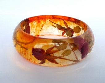 Miniature Dried Roses and eco resin bangle