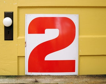 Vintage Metal Numbers 2 & 3 Two Three, Gas Station Sign, Red White Service Station Double Sided Industrial Garage