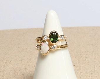 Tourmaline/Opal Diamond Ring in 14K Yellow Gold