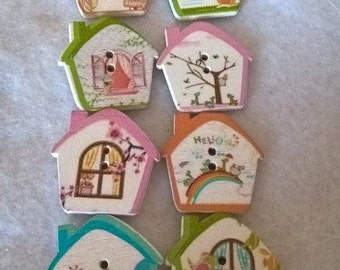Pack Of 20 Cottage Shaped Wooden Painted Buttons
