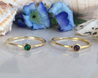 20% off- SALE! Any Birthstone Ring - Genuine Gemstone  - Stackable Ring - Tiny ring - Simple ring - Gold Ring - Delicate Ring - Bridal Gift