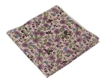 "Purple Floral Pocket Square.Cotton Pocket Square.Purple Weddding Handkerchief.10""x10"""
