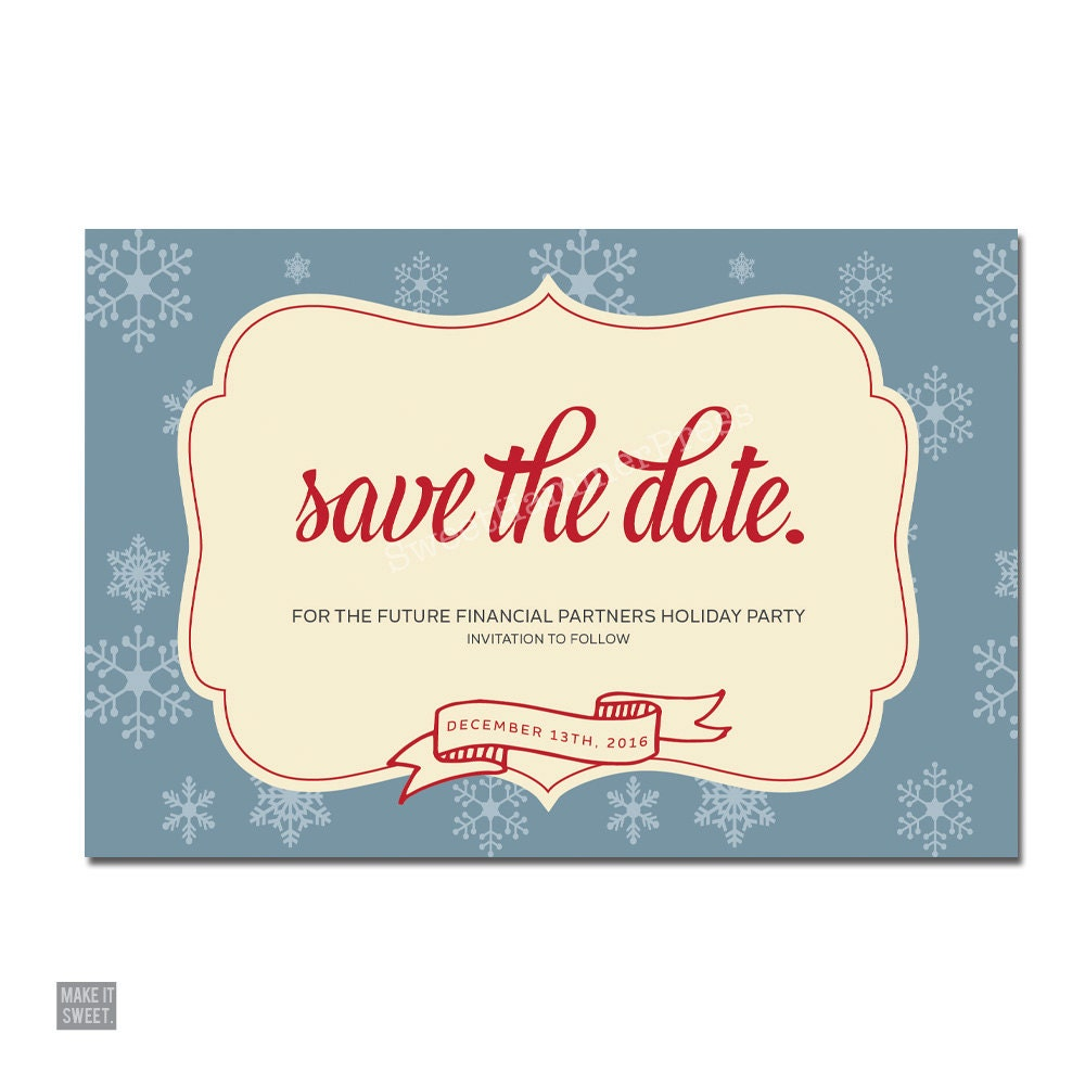 Corporate Save the Date Holiday Party Company Holiday Party