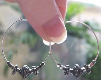 Bali Bead hoop earrings silver sterling large hoop boho Oxidized Silver Hoop Earring Bali bead earrings Bali hoop earrings chunky beaded