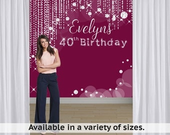 Diamond Sparkles Party Personalized Photo Backdrop -Birthday Milestone Photo Backdrop- 40th Birthday Photo Booth Backdrop - Custom Backdrop