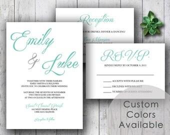 Printable Wedding Invitation PDF Set or Pick & Choose - Elegant Classic Bride Groom Large Names Wedding Invites (Choose Your Colors!)