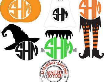 Halloween Circle Monogram Iron On Transfer / Bat, Pumpkin, Spiderweb, Witch, Ghost, Frankenstein