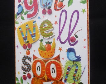 Cheeky 'OWL' Get Well Soon Handcrafted 3d Decoupage Card