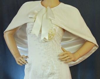 High quality Triple Velvet short Cape Capelet Wrap in Ivory colour. Exclusive. CBI