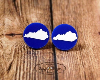 Kentucky State Earrings, Blue Acrylic and White Kentucky State Silhouette Earrings, Home State Jewelry, Kentucky Studs