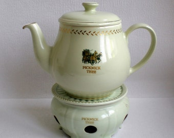 """Vintage Teapot,""""Pickwick Thee"""",Tea Warmer, Stage-Coach Pattern,Made in Holland,Joure, Douwe Egberts, 1959 Retro"""
