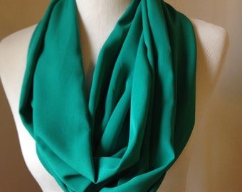 Green Scarf, Green Infinity, Emerald Scarf, Green Shawl, Emerald Shawl,Scarf, Infinity,  Gift for Her , Scarf, Spring, Summer,FREE SHIPPING