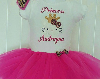 Hello Kitty Birthday Outfit- Hello Kitty Birthday Tutu with onsie personalized, Personalized Hello Kitty Tutu skirt and onsie