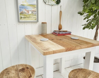 Small Reclaimed Wood Dining Table and Stools