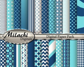 70% OFF SALE Aquamarine and Midnight Blue Digital Paper Pack, Scrapbook Papers, Commercial Use - Instant Download - M122