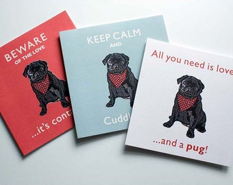 Black Pug Vintage Style Greetings Card