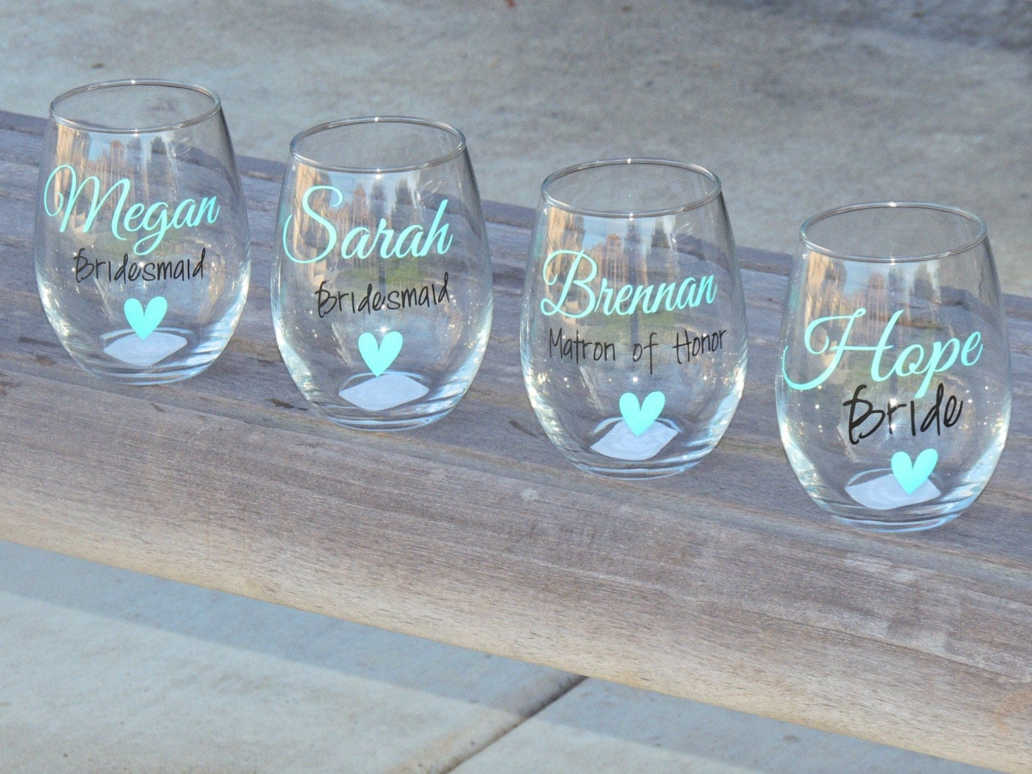 Set Of 8 Bridesmaid Wine Glasses Bridal Party Glass Small