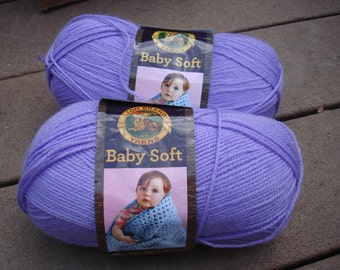 Lion Brand Baby Soft yarn, color is Lavender Purple