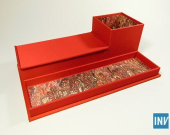 Desk caddy-organizer covered in red silk and marbled paper (with pencil cup, tray, and box)
