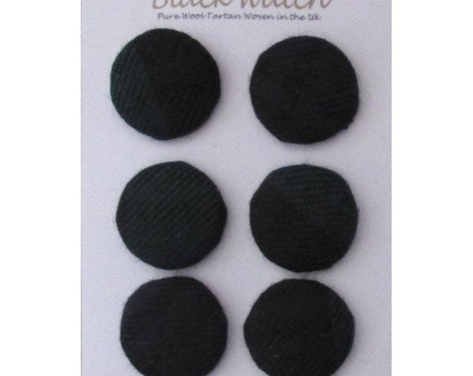 Black Watch Pure Wool Tartan Handmade Covered Set of 6 Buttons 24mm Diameter