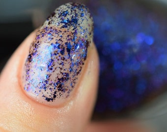 Night... and the Silent Water - Navy to red/violet shifting chrome flake nail polish (11ml)