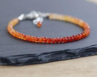 Shaded Carnelian Beaded Bracelet in Sterling Silver or Gold Filled. Ombre Orange Gemstone Bracelet. Dainty Stacking Bracelet. Bead Jewelry