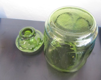 Vintage Green Glass Canister