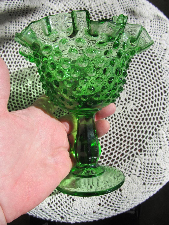 Rare Fenton Green Hobnail Glass Ruffle Dish By Wearingretro