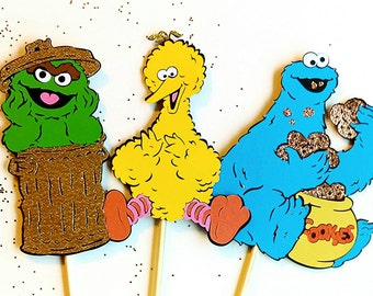 Sesame Street birthday decorations, Sesame Street centerpiece sticks, big bird, cookie monster, Oscar party decorations