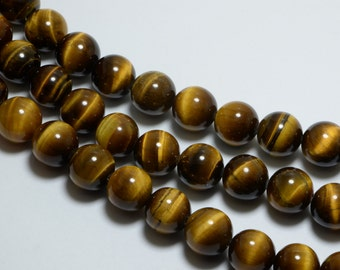 "Tiger Eye Beads in 6mm, Round, 15.5"" Inch Strand, Bracelet Beads. Great Semi Precious Gemstone Bead Supplies #SD-S8238"