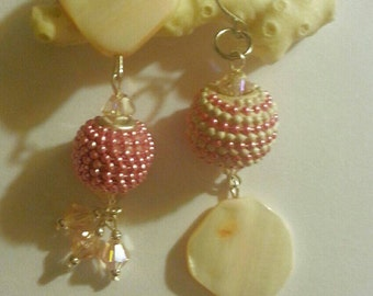 Pink and White Dangle Earrings