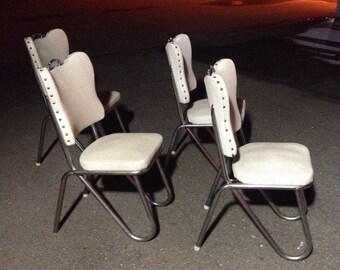 Rare Mid-Century 50's Federal Chrome Detroit Dining Chairs (4)