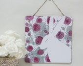Hidden in the roses-5-wooden print decoupage style with string hanger