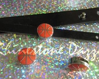 Basketball Slide Charm, 8mm slide charms,  slider charms, sports slide charm